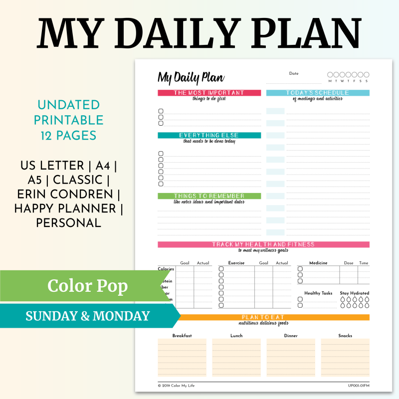 My Daily Plan - Color Pop